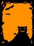 Beira de Halloween com gato Fotos de Stock Royalty Free