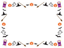 A beira de Halloween sae de abóboras Foto de Stock Royalty Free