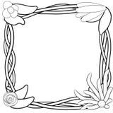 Beira decorativa do quadro com flores e videiras ilustração royalty free