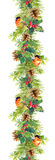 Beira do abeto - ramos de árvore do Natal, cones, visco, pássaro vermelho Quadro da aquarela Foto de Stock