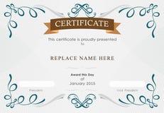 Beira do certificado, molde do certificado Ilustração do vetor Imagens de Stock