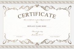 Beira do certificado, molde do certificado Ilustração do vetor Fotos de Stock