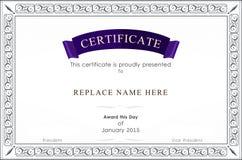 Beira do certificado, molde do certificado Ilustração do vetor Fotografia de Stock