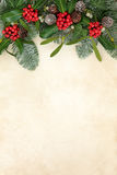 Beira do inverno com azevinho Fotografia de Stock