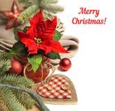Beira do Natal com as decorações da poinsétia e do inverno, sp do texto foto de stock