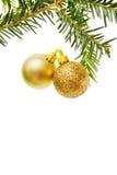 Beira do Natal com baubles dourados Fotografia de Stock Royalty Free