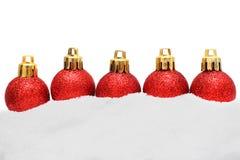 Beira do Natal - decoração e neve do Xmas Fotografia de Stock Royalty Free