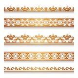 Beira do ouro ajustada no branco Imagens de Stock Royalty Free