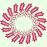 Beira do outono de bagas e das folhas vermelhas, molde para cumprimentar ou convite Foto de Stock Royalty Free
