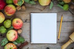 Beira do outono dos frutos na tabela de madeira Fotos de Stock Royalty Free