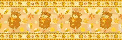 Beira do papel de parede do urso e das abelhas Imagem de Stock Royalty Free