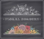 Beira do quadro da flor do vetor Fotografia de Stock Royalty Free