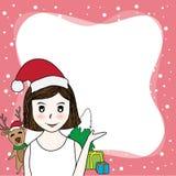 A beira dos desenhos animados do vetor tem a árvore da beleza Papai Noel, dos cervos e de Natal no fundo cor-de-rosa tenha o espa ilustração stock