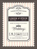 Beira e quadro do convite do casamento do vintage ilustração do vetor