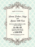 Beira e quadro do convite do casamento do vintage Fotografia de Stock Royalty Free