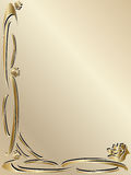 Beira elegante do ouro do convite do casamento Fotografia de Stock Royalty Free
