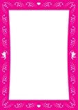 Beira enamorado cor-de-rosa com coração e cupidos para o dia de são valentim Fotografia de Stock Royalty Free