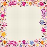 Beira floral com pássaros Foto de Stock