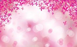 Beira floral cor-de-rosa do vetor no fundo do bokeh Foto de Stock