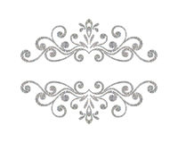 Beira floral da prata luxuosa elegante do vintage Fotografia de Stock Royalty Free