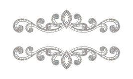 Beira floral da prata luxuosa elegante do vintage Fotografia de Stock