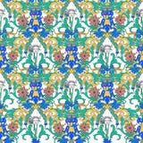 Beira floral do vetor do vintage Teste padrão sem emenda, estilo victorian Flores decorativas no contexto escuro Laço retro fotografia de stock