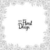 Beira floral feita com flores esboçado Imagem de Stock Royalty Free