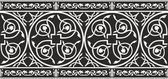 Beira floral gótico preto e branco sem emenda Imagens de Stock Royalty Free