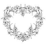 Beira floral monocromática decorativa no formulário do coração ilustração do vetor