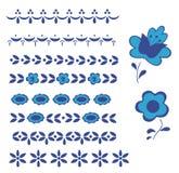 Beira gráfica do azul da louça de Delft do elemento Foto de Stock