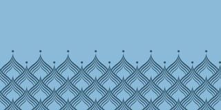 Beira horizontal da repetição azul do vetor da escala do dragão fotos de stock royalty free