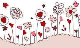 Beira horizontal sem emenda com flores estilizados Imagem de Stock Royalty Free