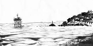 Beira-mar com pedras Fotos de Stock
