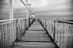 Beira-mar preto do mar branco de Balchik Albena Bulgaria do pontão Imagens de Stock