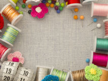Beira material Sewing Foto de Stock