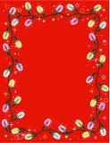 Beira ou frame das luzes de Natal no vermelho Foto de Stock Royalty Free