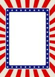 Beira patriótica do quadro com estrelas e raios vermelhos Fotos de Stock Royalty Free