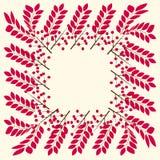 Beira quadrada do outono feita das folhas e das bagas vermelhas ilustração stock
