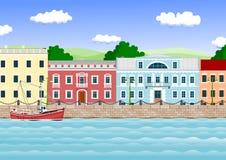 Beira-rio na cidade velha Imagens de Stock Royalty Free