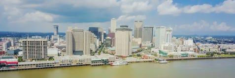 Beira-rio Nova Orleães do centro da vista aérea, Louisiana, EUA foto de stock royalty free