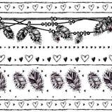 Beira sem emenda com penas e cristais ilustração do vetor