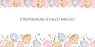 Beira sem emenda da aquarela com ovos da páscoa e o salgueiro coloridos ilustração royalty free