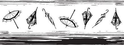 Beira sem emenda do vetor com mão aberta e fechado guarda-chuvas tirados teste padrão alinhado Ilustração infinita do preto do es ilustração do vetor
