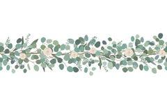 A beira sem emenda elegante das rosas e do eucalipto ramifica Festão floral Ilustração do vetor ilustração stock