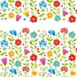 Beira sem emenda floral brilhante com borboleta. Fotografia de Stock