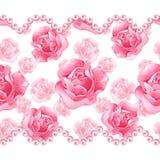 Beira sem emenda floral com rosas cor-de-rosa Fotografia de Stock Royalty Free