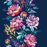 Beira sem emenda floral da aquarela com rosas vermelhas Foto de Stock Royalty Free