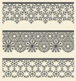 Beira sem emenda laçado árabe floral Linha de neve grupo do teste padrão Imagens de Stock