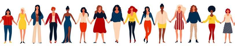 Beira sem emenda moderna com grupo internacional de mulheres ou de meninas felizes que estão junto e que guardam as mãos ilustração do vetor