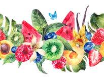 Beira sem emenda tropical com melancia ilustração do vetor